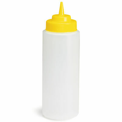 Widemouth Squeeze Sauce Bottle Clear with Yellow Top 16oz / 475ml - Set of 12