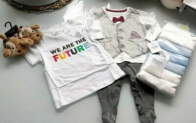 Baby Boys clothes bundle. 0-3 months. M&S, NEXT, H&M and George- 10 Items RRP£29