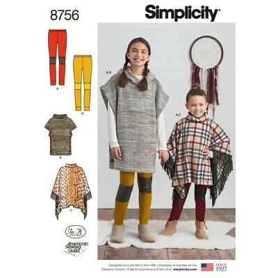SIMPLICITY GIRLS EASY Sewing Pattern 8428 Poncho in Two