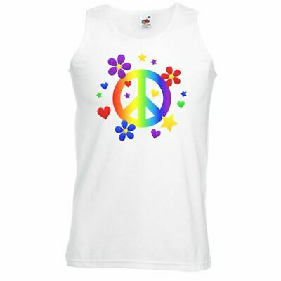Unisex White Peace Rainbow Pride Vest Love LGBT Equal