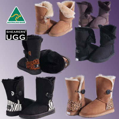 Genuine HAND-MADE Australia SHEARERS UGG Boots Wool Sheepskin Single Button
