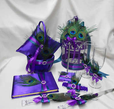 Peacock Feather Purple Teal Flower Girl Basket Ring Pillow Guest Book Birdcage