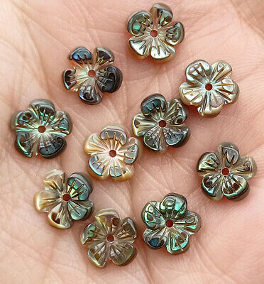 8mm Natural Abalone shell Flower beads 10 pcs