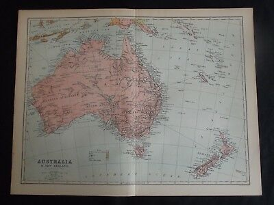 Antique Colour Map: Australia & New Zealand, John Bartholomew, 1902