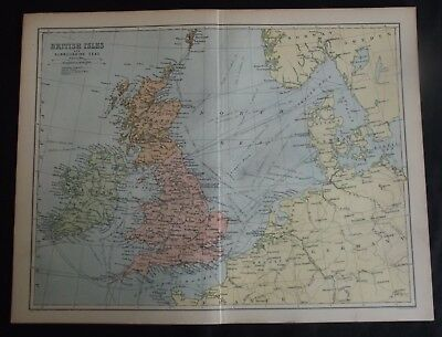 Antique Colour Map: British Isles & Surrounding Seas, John Bartholomew, 1902