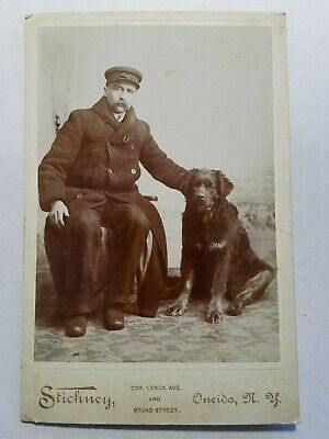Late 1800's Cabinet Card Photo Man European? W Swiss Mountain Dog NO Reserve
