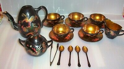 Antique Set of Chinese Lacquer Tea Set Teapot Spoons  Manchung Kee Ware Foochow