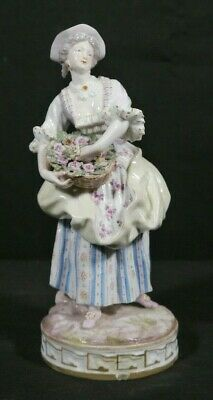 LARGE Antique MEISSEN Porcelain China Woman Figurine w Basket of Flowers