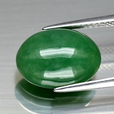 Rare! 5.63ct 13x9.8mm Oval Cabochon Natural Untreated Green Jade