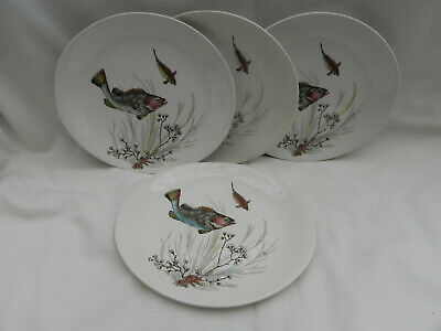 Vintage Johnson Bros FISH  4 x SIDE PLATES ,Hand Engraving