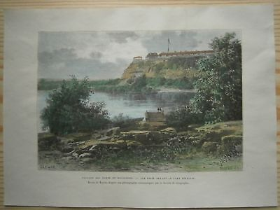 1892 Reclus print FORT SNELLING ON MISSISSIPPI, MINNESOTA (#29)