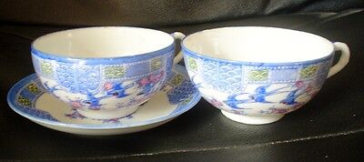 Very Pretty Japanese Cup Saucer And Spare Cup Blue Swallow And Blossom Design