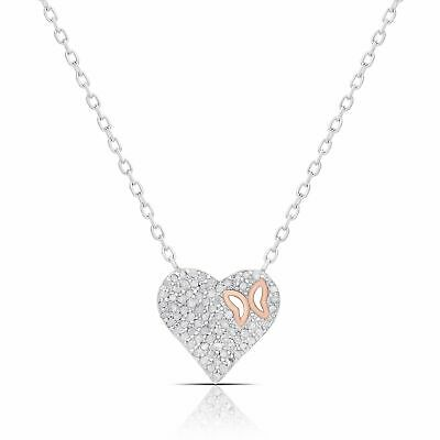 Finesque Sterling Silver 1/2ct TW Diamond Heart and Butterfly Necklace