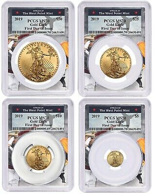 2019 Gold Eagle 4 Coin Set PCGS MS70 - First Day Issue West Point Frame