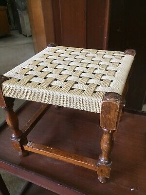 Vintage Traditional Fireside Stool String Weave Seat 18/2/R