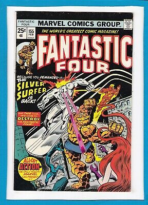 """Fantastic Four #155_Feb 1975_Very Fine+_""""the Silver Surfer Is Back""""_Bronze Age!"""