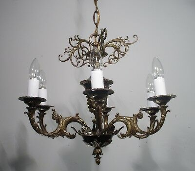 Antique Vintage Bronze Chandelier 6 Light  French Empire Restored Classic Petite