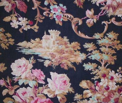 BEAUTIFUL 19th CENTURY FRENCH NAPOLEON III LINEN COTTON, CHATEAU ROSES  1870 143
