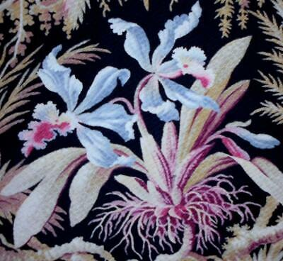 BEAUTIFUL 19th CENTURY FRENCH NAPOLEON III LINEN EXOTIC ORCHIDS  c1860s 144