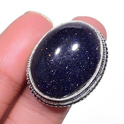 Blue Sun Stone Ethenic Jewelry Handmade Antique Design Ring Size-7 LR-20796
