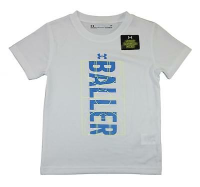 Under Armour Toddler Boys White & Blue Baller Dry Fit Logo Top Size 3T