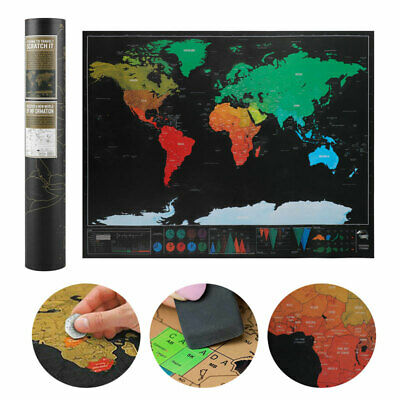 Deluxe Travel Tracker Big Scratch Off World Map Atlas Poster Journal Log Decor