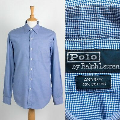 Mens Ralph Lauren Shirt Houndstooth Fine Check Pattern Shirt Andrew Style L