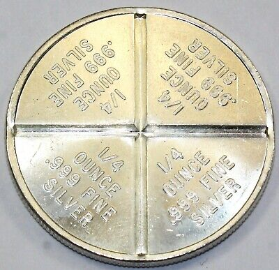 One Troy Ounce Silver Trade Unit Fractional Pie 1 oz .999 Fine Silver Round