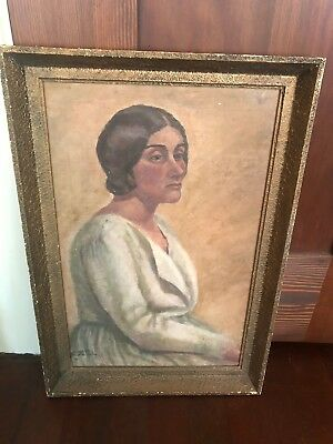 Antique/vintage 1920's Oil Painting Woman Dress In Original Frame Hair Upswept
