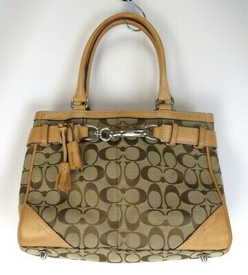 646026b633bf Coach Brown Leather Canvas Signature Medium Handbag Satchel E056J-8K06