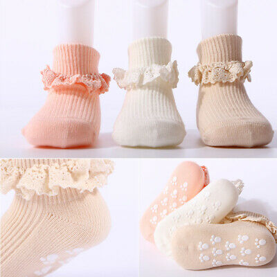 Cute Baby Infant Socks Cotton Warm Soft Kids Ankle Comfy Newborn Lace Non-slip