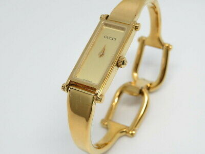 5bcab15e0e2 GUCCI 1500 Ladies Bangle Watch Gold Dial NEW BATTERY FREE SHIPPING