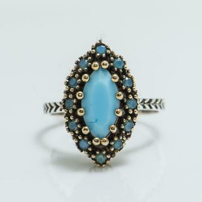 Art Deco 2.49ctw Turquoise Sterling Silver Ring 5.6g Size 8.25