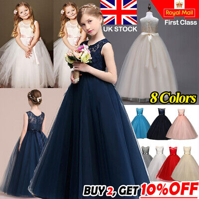 Lace Flower Bridesmaid Maxi Long Dress Princess Prom Wedding Party Girls Kids UK
