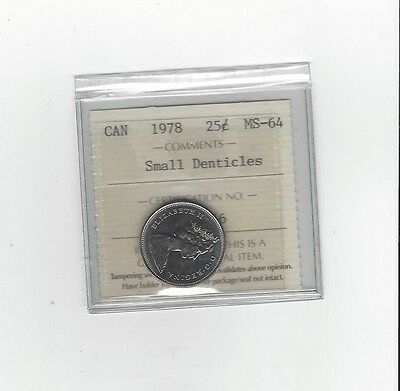 **1978 Sm. Denticles**,ICCS Graded Canadian, 25 Cent, **MS-64**