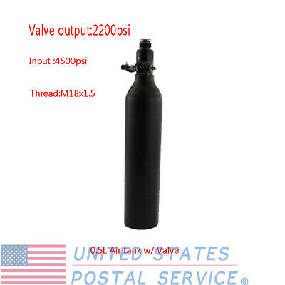 0.5L 3000psi Air Tank High Compressed Air Bottle w/ Output 2200psi Valve For PCP