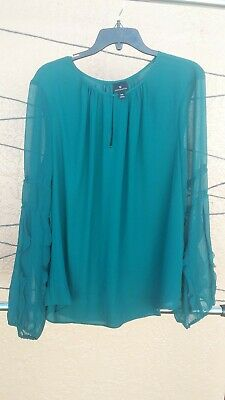ddd8c195f85 Womens NEW JcPenney Worthington Ruffle Sheer Emerald Green Blouse Size XXL