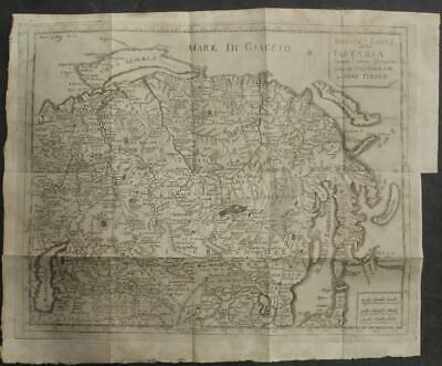 Russia China Mongolia Korea 1738 Tirion Unusual Antique Copper Engraved Map