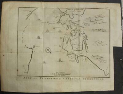 Trincomalee Bay Sri Lanka 1763 Bellin/schley Scarce Antique Copper Engraved Map
