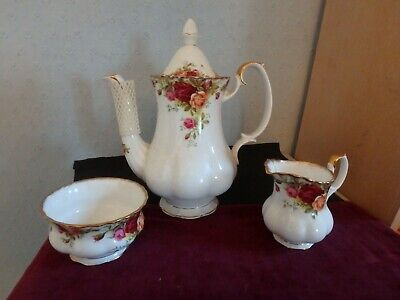"Royal Albert English Bone China ""old Country Roses"" Coffee Pot, Milk Jug, S/bowl"