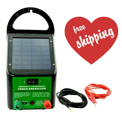 5-8km 0.4J Solar Power Electric Fence Energiser Charger for Poly Wire Tape Posts