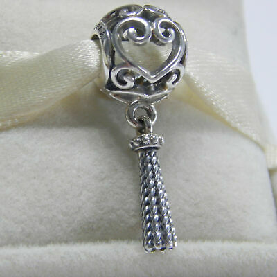 31095f3fd Authentic Pandora Sterling Silver Enchanted Heart Tassel 797037 Pendant  Charm