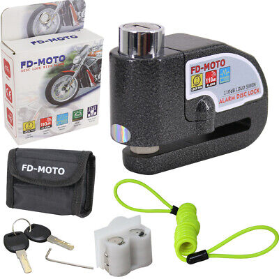 MOTORBIKE BRAKE DISC LOCK Motorcycle Alarm BIKE Lock SECURITY + Cable & POUCH