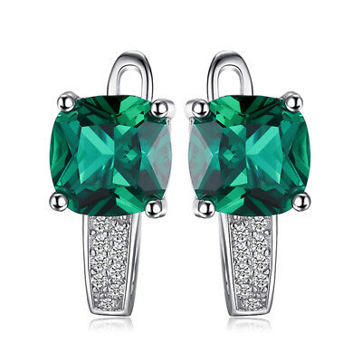 JewelryPalace Fashion Nano Russian Emerald Earrings Solid 925 Sterling Silver