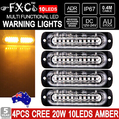 4x 10 LED Car vehicle Strobe Flash Light Emergency Warning Flashing Lamp Amber !