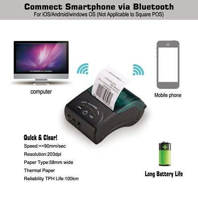 58mm Receipt Thermal Printer 90mm/sec High Speed Printer Portable Bluetooth POS