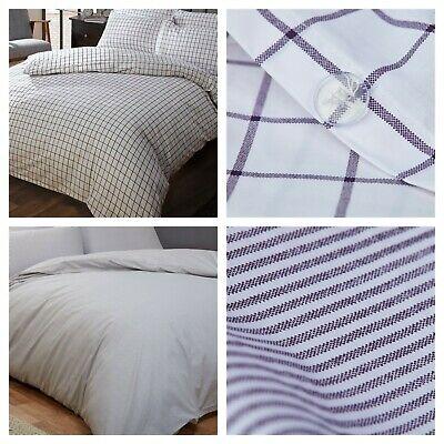 100% Cotton (200 Thread Count) Navy & White Duvet Cover Sets, Checked OR Striped