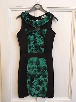 Ladies black with green floral front panel straight dress  Progress size 8/10