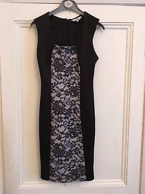 Ladies black straight dress with floral panel back and front size 8 by New Look