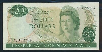 "New Zealand: 1977 $20 Hardie RARE STAR* ""YJ"" LUCKY NO.""111"". P167dr EF Cat $120+"